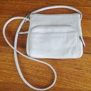 Vintage Tignanello White Leather Crossbody Bag